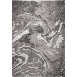 An Image of Marbled Rug Silver and White