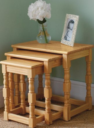 An Image of Argos Home Devon Nest of 3 Solid Pine Tables - Oak Effect