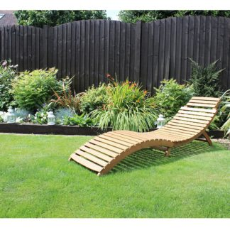 An Image of Acacia Folding Curved Wooden Lounger Natural