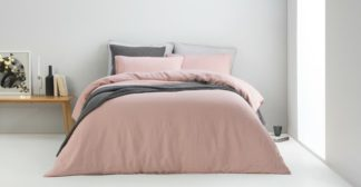 An Image of Brisa Linen Duvet Cover + 2 Pillowcases, Super King, Dusky Pink UK