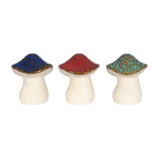An Image of Ceramic Mushrooms Garden Ornament - 16cm