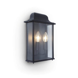 An Image of Lutec Holly Outdoor Wall Lantern In Black