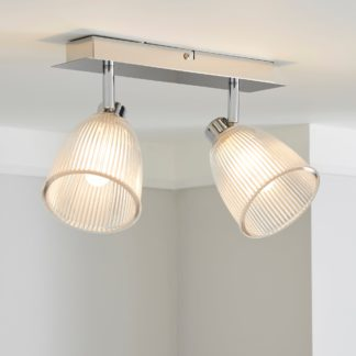 An Image of Bremont 2 Light Ribbed Glass Bathroom Spotlight Silver