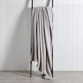 An Image of Reversible Teddy Throw Grey