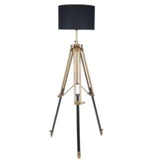 An Image of Antique Brass Tripod Floor Lamp, Dark Wood