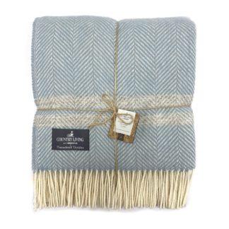An Image of Country Living Wool Herringbone Stripe Throw - 150x183cm