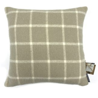 An Image of Country Living Wool Check Cushion - 50x50cm - Latte