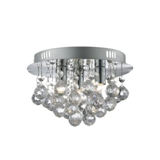 An Image of 3 Light Flush Ceiling Light - Chrome & Clear Acrylic