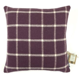 An Image of Country Living Wool Check Cushion - 50x50cm - Grape