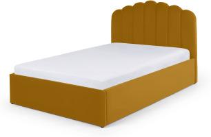 An Image of Delia King Size Ottoman Storage Bed, Marigold Velvet