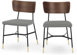 An Image of Amalyn Set of 2 Dining Chairs, Light Grey Velvet & Walnut