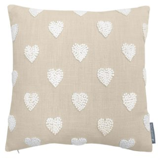 An Image of Country Living French Knot Heart Cushion - 40x40cm - Ivory