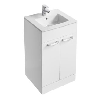 An Image of Ideal Standard Tempo 50cm Freestanding Vanity Unit Pack - Gloss White