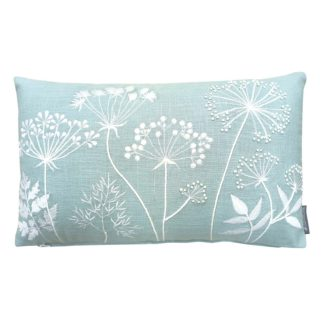 An Image of Country Living Meadow Embroidered Cushion - 30x50cm - Duck Egg