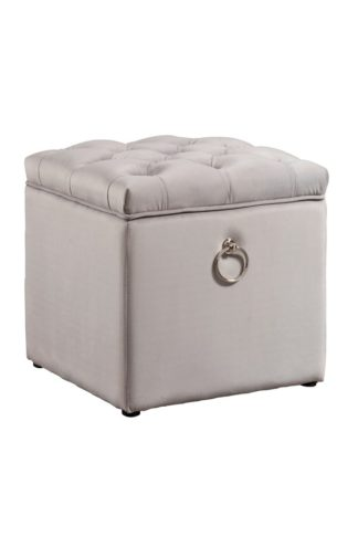 An Image of Antoinette Storage Ottoman - Dove Grey