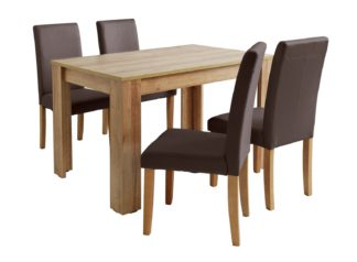 An Image of Habitat Miami Oak Effect Table & 4 Chocolate Chairs