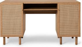 An Image of Pavia Wide Desk, Natural Rattan & Oak Effect