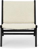 An Image of Rami Accent Armchair, Faux Sheepskin & Matte Black