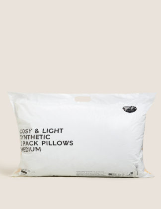 An Image of M&S 2 Pack Cosy & Light Medium Pillows