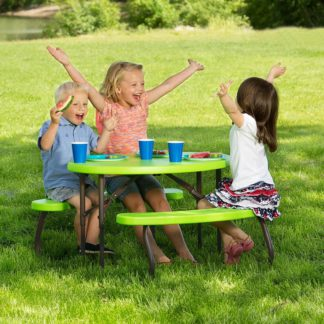 An Image of Lifetime Children's Oval Picnic Table - Lime Green - 86.3 x 62.7 cm