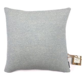 An Image of Country Living Wool Herringbone Cushion - 50x50cm - Duck Egg
