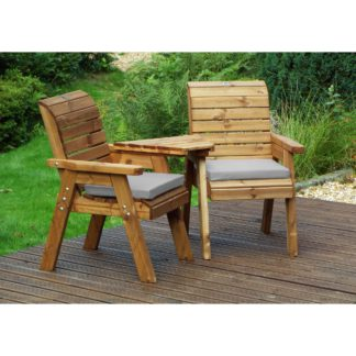 An Image of Charles Taylor 2 Seater Angled Twin Companion Set with Grey Seat Pads Light Grey