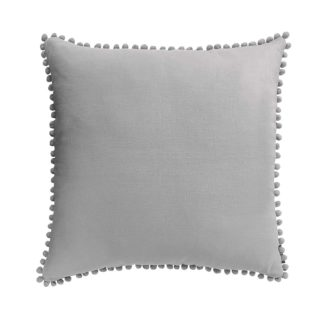 An Image of Country Living Linen Pom Pom Cushion - 50x50cm - Country Grey