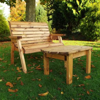 An Image of Charles Taylor 2 Seater Wooden Deluxe Bench Set Natural