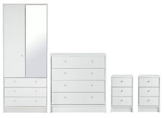 An Image of Habitat Malibu 4 Piece 2 Door Mirror Wardrobe Set - White