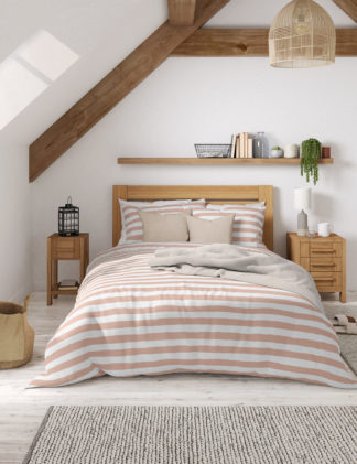 An Image of M&S 2 Pack Cotton Mix Striped Bedding Sets