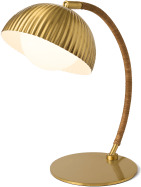 An Image of Shell Table Lamp, Antique Brass & Natural Rattan