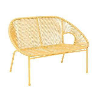 An Image of Homebase Acapulco 2 Seater Garden Bench - Yellow