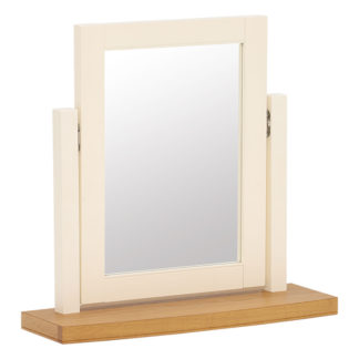 An Image of Carrington Vanity Mirror Ivory and Oak