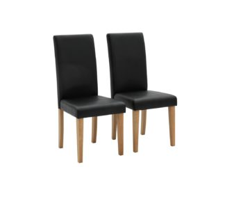 An Image of Argos Home Pair of Midback Dining Chairs - Black
