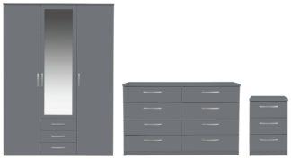 An Image of Argos Home Hallingford 3 Piece 3 Door Wardrobe Set - Grey