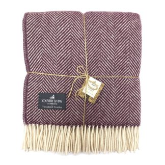 An Image of Country Living Wool Herringbone Throw - 150x183cm - Grape