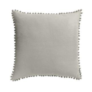 An Image of Country Living Linen Pom Pom Cushion - 50x50cm - Latte