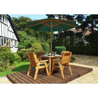 An Image of Charles Taylor 4 Seater Wooden Round Dining Set with Green Seat Pads and Parasol Brown