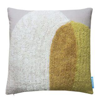An Image of House Beautiful Circles Tufted Cushion - 45x45cm - Ochre