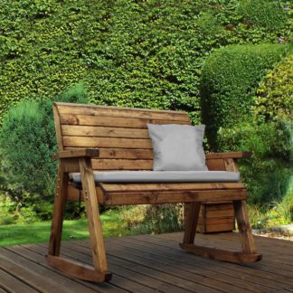 An Image of Charles Taylor 2 Seater Wooden Bench Rocker with Grey Seat Pad Wood (Brown)