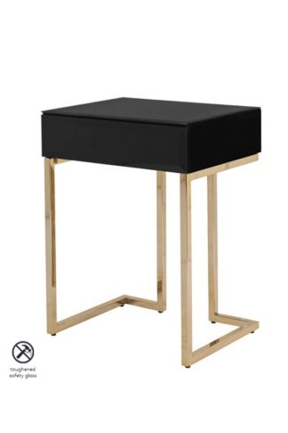 An Image of Lorenzo Toughened Black Glass Side Table
