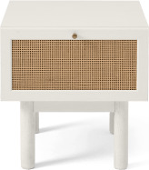 An Image of Pavia Bedside Table, Natural Rattan & White-Washed Oak Effect