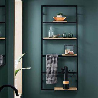 An Image of Bathstore Noir Wall Hung Shelf Unit
