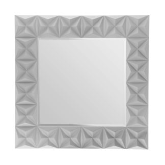 An Image of 3D Effect Wall Mirror - Grey High Gloss
