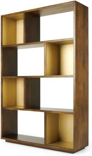 An Image of Anderson Wide Shelving Unit, Mango Wood & Brass