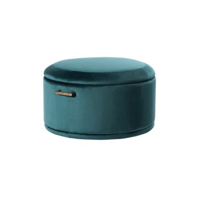 An Image of Aria Storage Ottoman – Peacock – Brass/Silver