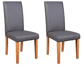 An Image of Argos Home Pair of Midback Dining Chairs - Charcoal