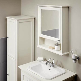 An Image of Bathstore Savoy Old English Mirror Wall Cabinet - White