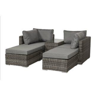 An Image of Paris 4 Seater Relaxer Set Grey