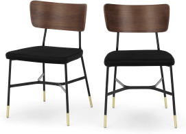 An Image of Amalyn Set of 2 Dining Chairs, Deep Black Velvet & Walnut
